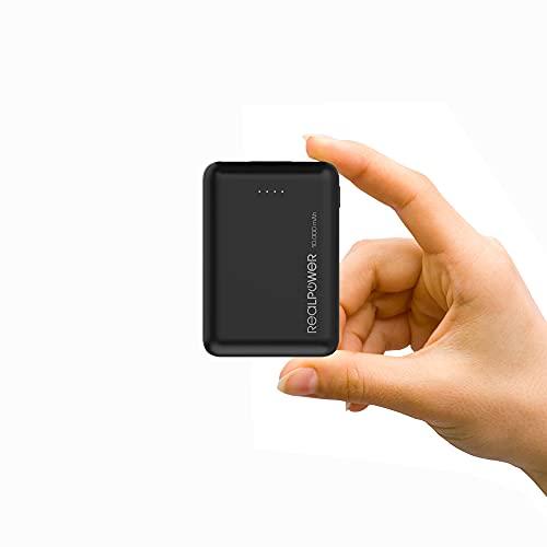 Realpower PB-10000 mini HD Powerbank 10000mAh, der kleine und leichter externer Akku, kompakt für iPhone 12/11/XS Max/XR/XS/X/8/8Plus, iPad, Samsung Galaxy und weitere Smartphones(Schwarz)