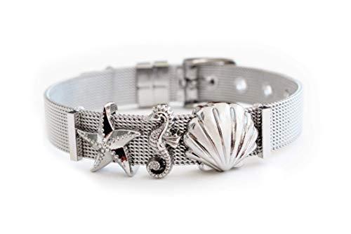 """LIKERY\""""Oceanlover\"""" Schmuck-Set   Charmband mit drei maritimen Charms – Muschel, Seestern, Seepferdchen   Erhältlich in Silber, Gold, Rosé Gold   Farbe: Silber"""
