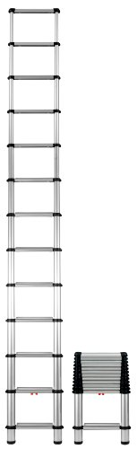Telesteps 1600EP The World's Only Fully Automatic Telescoping Ladders, with Patented One-Touch Release, OSHA Compliant 12.5 ft Extended Height, Up to 16 ft Reach may be possible, Wide Pro Step, Telescoping Extension Ladder.