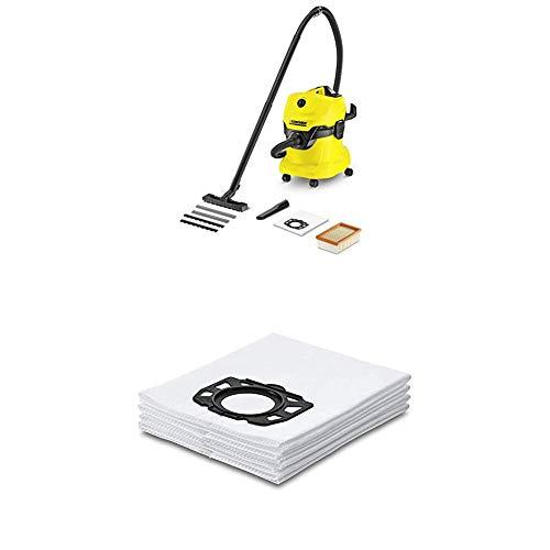 Kärcher WD4 - Aspirador en seco y húmedo, 220 - 240 V, Drum vacuum, de plástico, profesional, color negro y amarillo, versión alemana + Kärcher Bolsas de filtro de fieltro