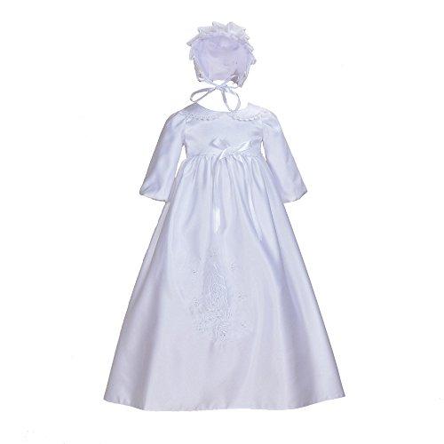 Cinda Traditionelle Baby-Satin Langarm Taufkleid und Motorhaube Weiß 56-62