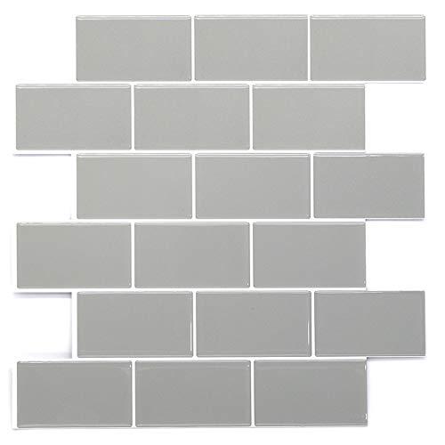 STICKGOO - Adhesivos engrosados para azulejos, adhesivos decorativos impermeables para azulejos para cocina y baño, 30,5 * 30,5 cm (gris-10 piezas)