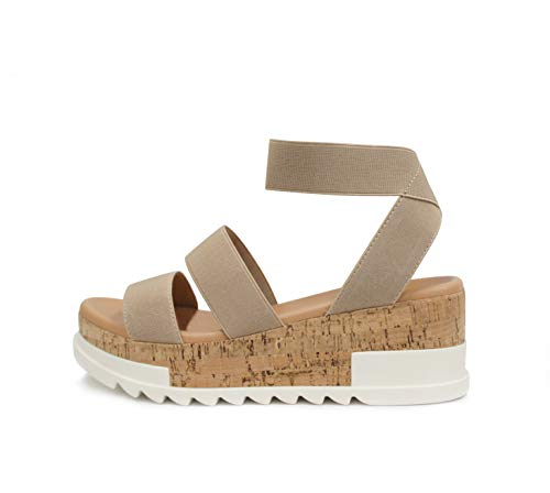 Soda Style Madyson ~ Slip On Open Toe Two Bands Elastic Ankle Strap Flatform Wedge Casual Fashion Sandal with Cork Wrap Bottom (Wheat, 7.5)