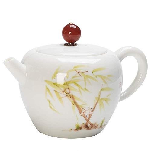 MSH wit porselein theepot met de hand beschilderd groen bamboe verse keramische thee set enkele pot