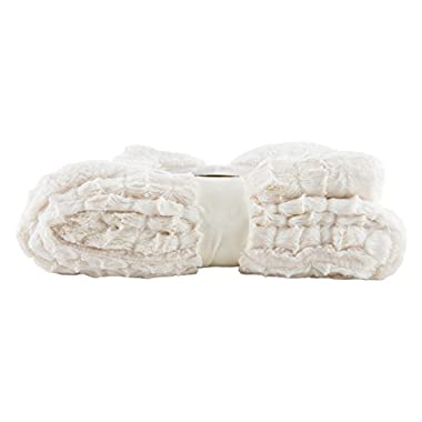 Longrich Embossed Faux-Fur Reversible Sherpa Throw Blanket, Ivory