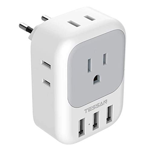 European Plug Adapter, TESSAN International Travel Power Plug with 4 AC Outlets 3 USB Ports, US to Most of Europe EU Italy Spain France Iceland Germany Greece Charger Adaptor, Type C
