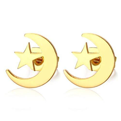 Pendientes de botón con forma de estrella de luna de acero quirúrgico lindo de alta pulido para niña Chapado en oro de 18 quilates