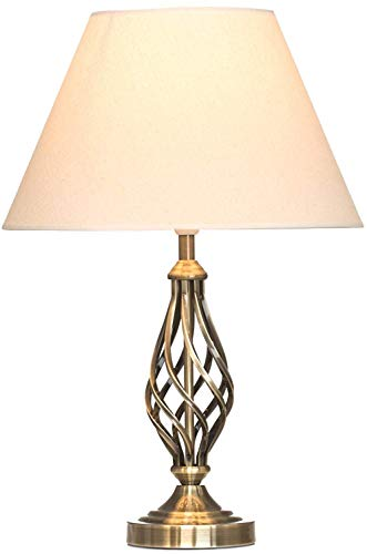 Kingswood Barley Twist Traditional Table Lamp & Shade - Antique Brass