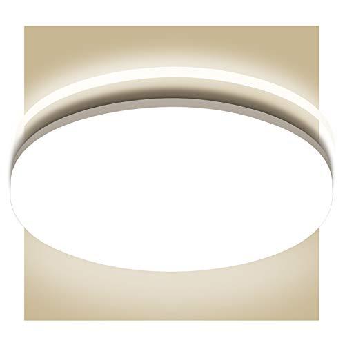 Oeegoo LED Deckenleuchte Badlampe, 18W 1800lm Flimmerfreie Badezimmerlampe, IP44 Wasserfest Deckenlampe für Bad Wohnzimmer, Schlafzimmer, Balkon, Korridor, 4000K Ø28cm