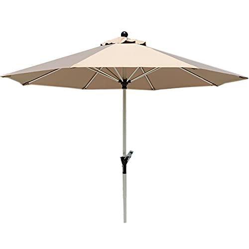 Lqdp Sombrilla Sombrilla Redonda Plateada para Patio, sombrilla de jardín con protección Solar de 2,7 m con manivela y 8 Varillas, sombrilla para Piscina de Playa con Cubierta