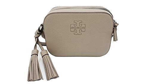 Tory Burch 67287 French Grey/Silver Hardware Women's Leather Thea Camera Crossbody Bag