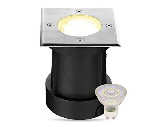 lambado® LED Bodeneinbaustrahler für Aussen IP67 - Wasserdicht & Befahrbar inkl. 3W 230V GU10 Strahler warmweiss - Eckiger Bodenstrahler/Bodenleuchte aus Edelstahl für Terrasse & Garten
