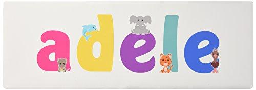 Little Helper LHV-ADELE-1542-15IT Tela per Nursery con Pannello Frontale, Disegno Personalizzabile con Nome da Ragazza'Adele', Multicolore, 15 x 42 x 3 cm