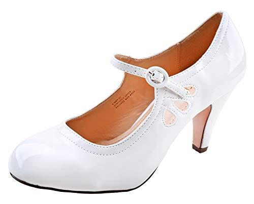 Chase & Chloe Womens Kimmy-21 Regular Heeled Shoes White Pat 6.5