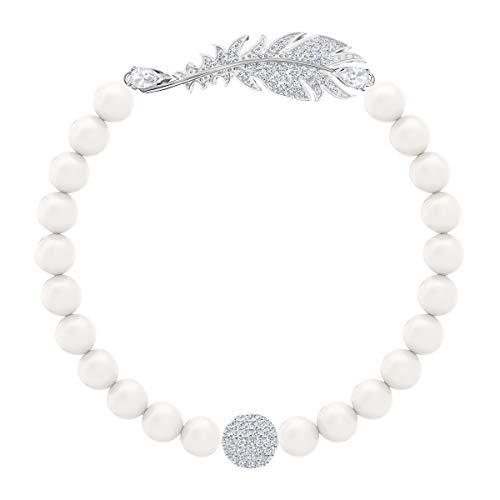 Swarovski Nice Pearl Armband, Weiss, Rhodiniert