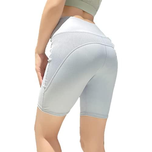 Pantalones Cortos Deportivos de Color Liso para Mujer, Pantalones Cortos para Correr de Yoga de Secado rápido al Aire Libre con Costuras Informales de Verano Large