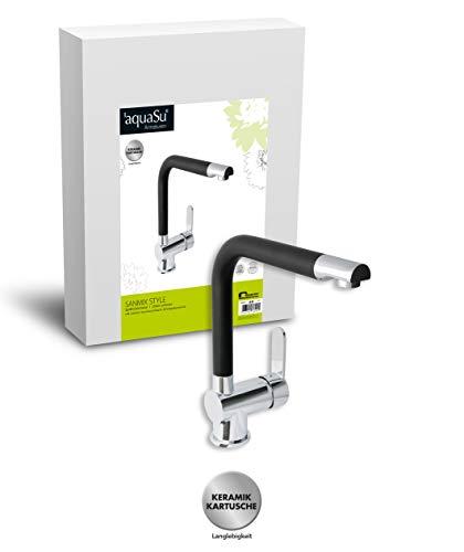 'aquaSu® 78896 0 Sanmix Style Spültischarmatur, Einhandmischer Küchenspüle, Chrom/Schwarz