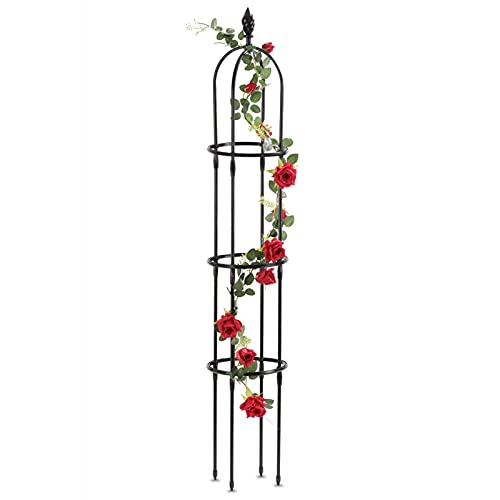 Yotoworth Garden Trellis Arch For Climbing Plants Outdoor 6 Ft Tall Metal With PE Coated Rustproof Plant Support, Obelisk Trellis With Plastic Adjustable Support Rings, Lightweight, Black, Torch