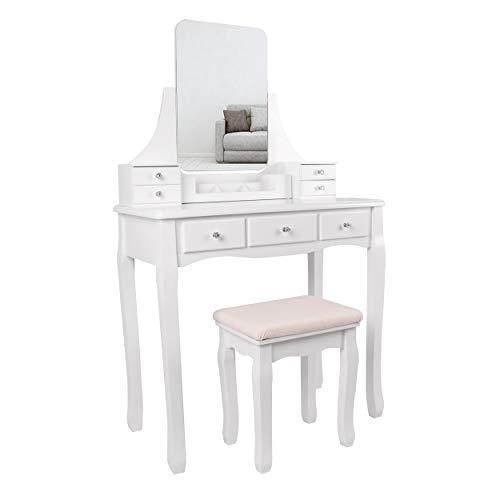 Schminktisch mit großem und rahmenlosem Spiegel, Hocker aus Kautschukholz, 7 Schubladen, für Schlafzimmer, Garderobe, abnembarer Make-up Organizer für Pinsel und Nagellack, mit Spiegel und Hocker,weiß