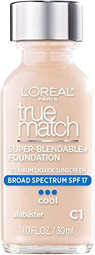 L'Oreal Paris Makeup True Match Super-Blendable Liquid Foundation, Alabaster C1, 1 Fl Oz,1 Count