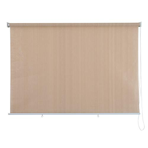 PHI VILLA Outdoor Patio Sun Shade Roller Shade 8ft by 8ft Wheat
