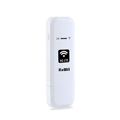 KuWFi 4G LTE USB Modem Network Adapter ,LTE Router de módem USB 4G LTE WiFi Mobile Network Hotspot módem router 3G 4G WiFi con ranura para tarjeta SIM, soporta hasta 10 usuarios WiFi
