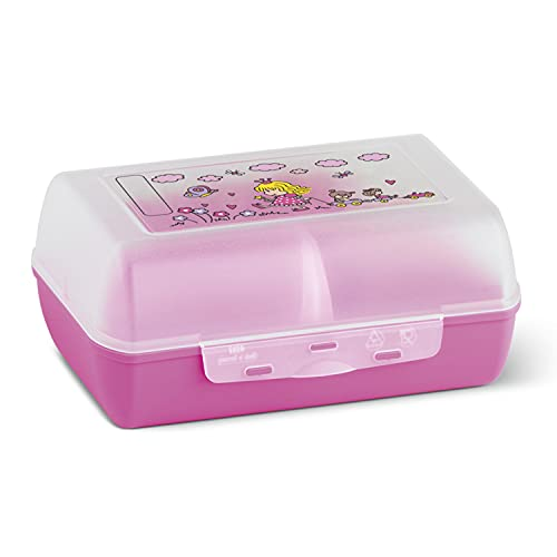 Emsa 513794 Brotdose für Kinder, Herausnehmbare Trennwand, Prinzessinnenmotiv, Pink, Variabolo Princess