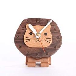 Zxwzzz Clock Wooden Lion Lion Sitting Clock, Cute Creative Little Lion Clock, Clock