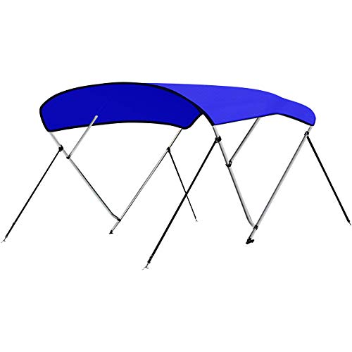 """SereneLife Waterproof Boat Bimini Top Cover - 67-72"""" W 3 Bow Bimini Top Sun Shade Boat Canopy - 1"""" Double Wall Aluminum Frame Tubes, 2 Front Straps, 2 Rear Support Poles, Storage Boot SLBTW72B, Blue"""