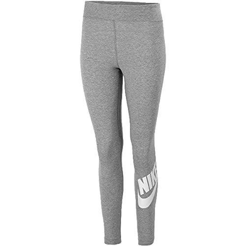 Nike Damen Sportswear Essential Tights, Dark Grey Heather/White, M