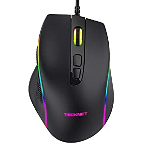 TECKNET Gaming Mouse, Wired Programmable Computer Laptop Mice, Games Ergonomic USB Mouse with RGB Backlight, 7 Programmable Buttons, 6 DPI up to 6400 DPI Adjustable for Win 10/8/7/XP/Vista/Linux