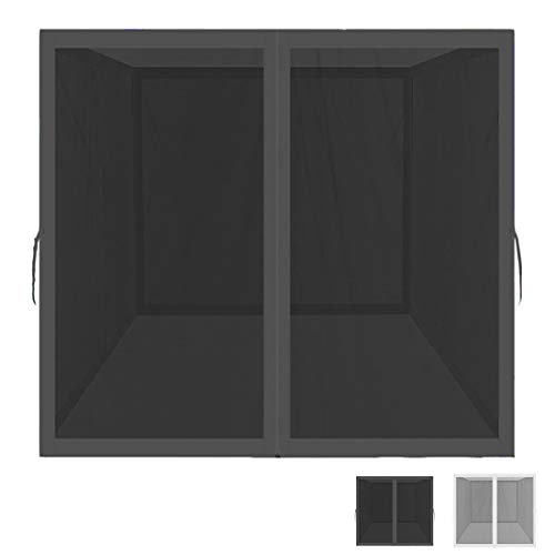 Mosquito Net for Outdoor Patio and Garden, Screen House for Camping and Deck , Outdoor Gazebo Screenroom , Zippered Mesh Sidewalls for 10x 10' Gazebo and Tent (Mosquito Net Only Black)