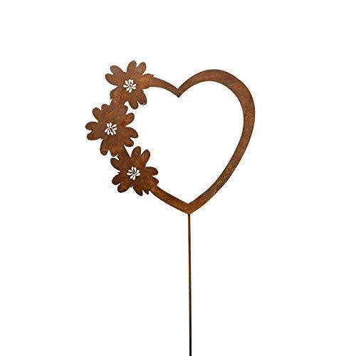 Metall Stecker. Herz mit Blumen. Rost Gartenstecker, Metallstecker, Dekostecker. 58 cm. Art.: 72915