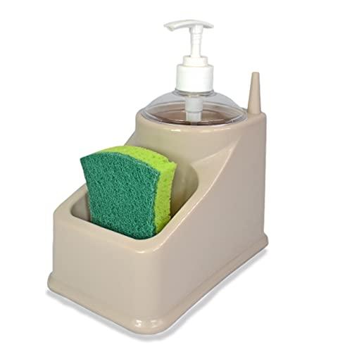 Estropajero, dispensador jabón cocina, Porta estropajos y esponjas, Dispensador de Jabón 2 en 1 y Soporte de Esponja Dosificador Jabón Cocina.(Gris)