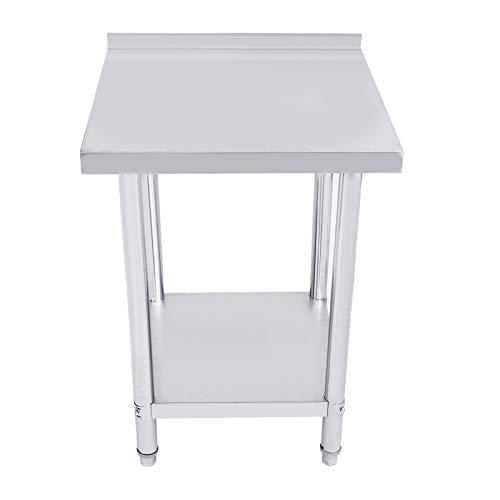 1 mesa de operaciones de plataforma de acero inoxidable de doble capa de 0,6 mm de grosor para colocar suministros de cocina (61 x 61 cm)