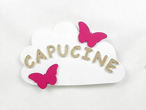 Prénom, lettres en bois, déco enfant, bébé, cadeau de naissance, plaque de porte prénom, nuage blanc avec prénom en bois, fabrication artisanale française