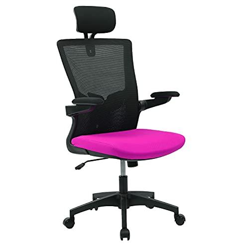 Wolmics Bürostuhl Ergonomisch Schreibtischstuhl Atmungsaktiver Mesh-Bürostuhl mit hoher Rückenlehne Verstellbare Kopfstütze und Lordosenstütze mit Klapparm und Schaukelfunktion (Brown)