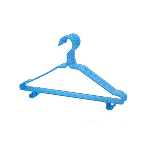Diaod 10 unids Adultos niños Ropa Percha de Ropa Secado Rack Antideslizante Metal Camisa Gancho Perchas Abrigo Percha Ropa Accesorios Bastidor (Color : Blue)