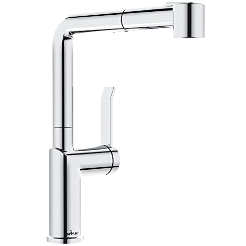 APPASO Wasserhahn Küche mit Brause, Küchenarmatur Ausziehbar, 360° Drehbar Mischbatterie mit 2 Strahlarten, Einhand-Spültischarmatur mit Magnet-Andocken für Küche/Wohnmobil | L-Form Chrom