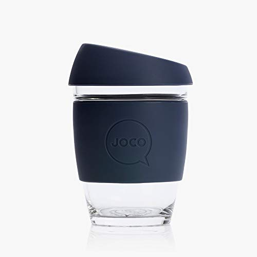 Joco Kaffeebecher aus Glas, wiederverwendbar, 340 ml Mood Indigo