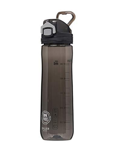 LLJPFD7J Wasserflasche, auslaufsichere 600 ml-Weithalsflasche mit Skala, perfekt for Getränkehalter, geeignet for Campingausflüge im Freien (Color : Black)