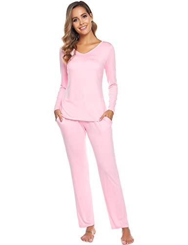 ARBLOVE Damen Schlafanzüge Einfarbige Lang Nachtwäsche Baumwolle Zweiteiliger Pyjamas Set Einfarbige PJ Set, Weich Bequem und Schön Langarm Hausanzug