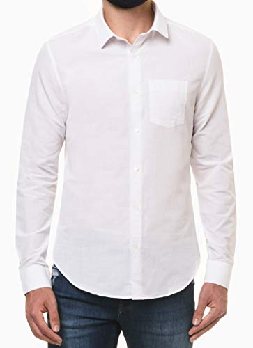 Camisa social Slim simples bolso, Calvin Klein, Masculino, Branco, 4