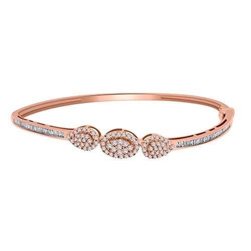 OMEGA JEWELLERY Brazalete de diseño de Diamantes Redondos de 0.88 CT con certificación IGI en Oro de 14Q sobre Plata, el más Adecuado para Fiestas (Plata chapada en Oro Rosa)