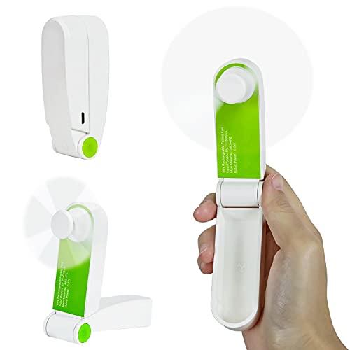 Olywee Handheld Mini Faltlüfter USB Wiederaufladbare Tragbare Taschenventilatoren für Schule, Büro, Zuhause, Außenbereich (Wind mit Zwei Geschwindigkeiten, Grüne Farbe)