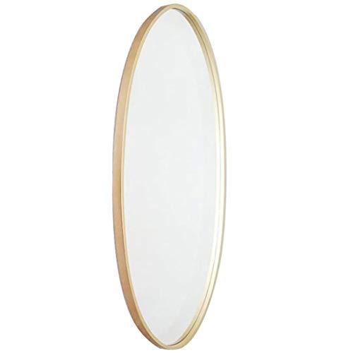 Espejo de Pared Marco de Metal Ovalado, Espejo de baño Colgante de Pared Espejo de vanidad Decorativo Espejo de Afeitar Estilo Moderno - Dorado