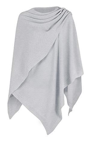 Mikos* Damen Poncho Strick Strickpullover Eleganter Pulli Long Mantel Herbst Winter Viele Farben Eine Größe (991) (Grau)