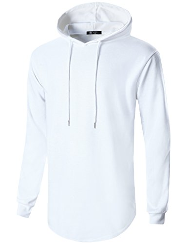 GIVON Mens Hipster Simple Longline Lightweight Pullover Long Sleeve Hooded Shirt/DCF022-WHITE-M
