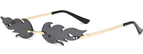 DURINM Occhiali Fiamma Donna Occhiali da Sole Senza Montatura Unisex Occhiali da Sole Wave Narrow Accessori Occhiali da Sole Cosplay Vestire (nero)