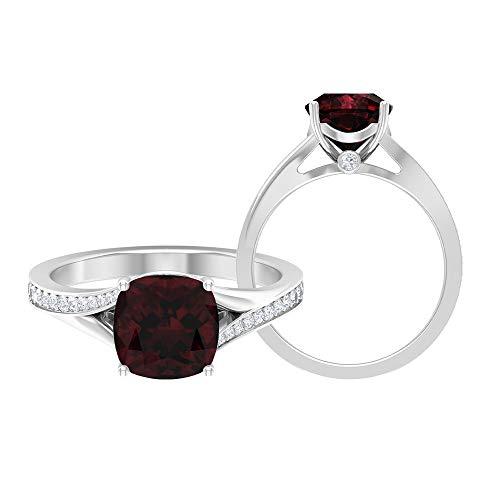 Rosec Jewels 18 quilates oro blanco cojín round-brilliant-shape H-I Red Diamond Garnet